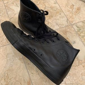 Converse Shoes - Converse Chuck Taylor all black Leather High Tops